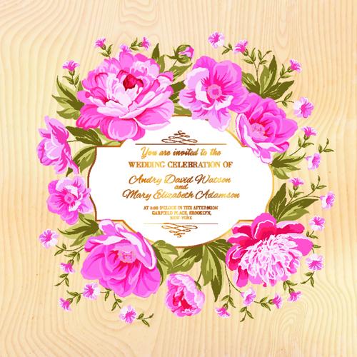 bdc6e5bc2317 Pink flower frame wedding invitation cards 01 free download