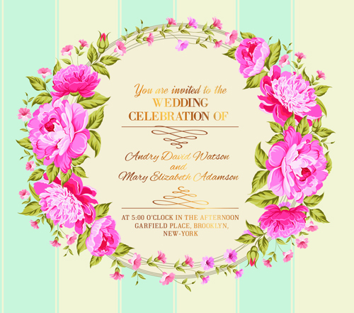 Pink flower frame wedding invitation cards 03 free download