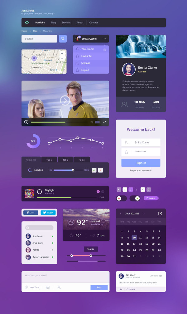 Purple with blue flat website template