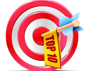 Red aim target sales elements vector 01