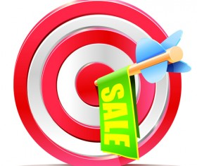Red aim target sales elements vector 02