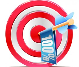 Red aim target sales elements vector 03