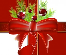 Red bow and christmas baubles vector