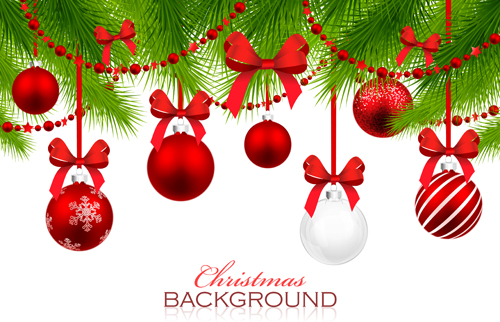 red with white christmas decorations background vector 01