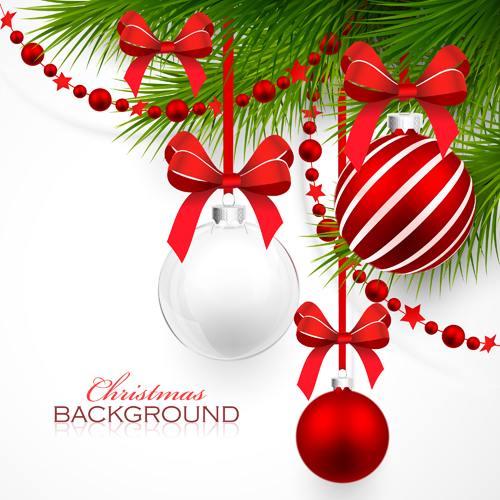 Red with white christmas decorations background vector 02 - Vector ...