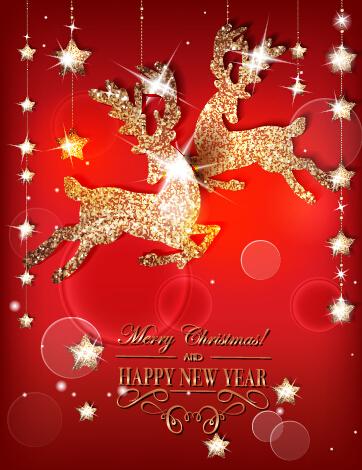 Reindeer golden xmas ornament vector background
