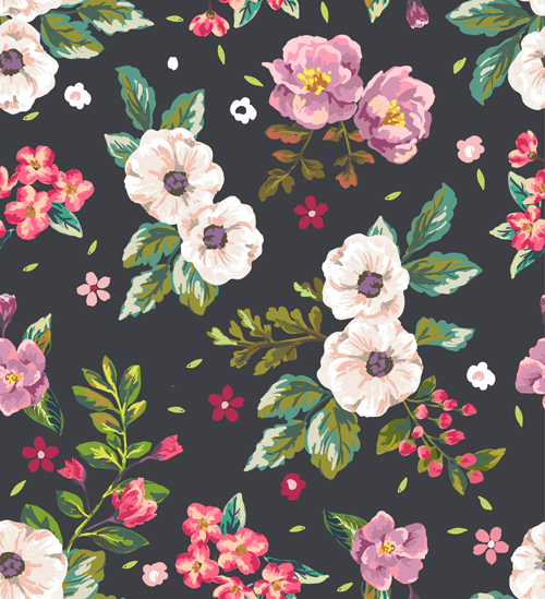 Retro Flower Pattern Seamless Vector 02 Free Download