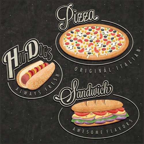 Retro style fast food logos design 01