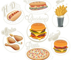 Retro style fast food logos design 02