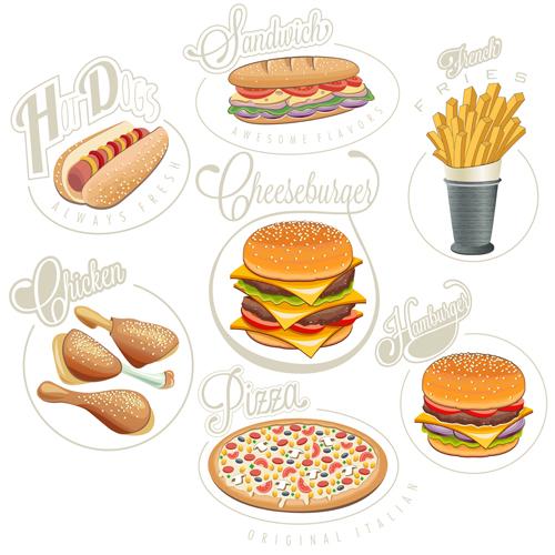 Retro style fast food logos design 02