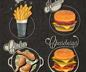 Retro style fast food logos design 03