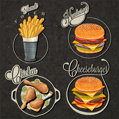 Retro style fast food logos design 03