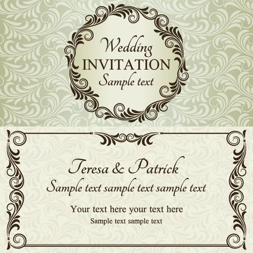 Romantic ornate wedding invitations 02