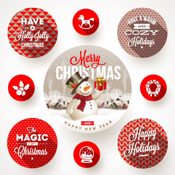 round xmas with new year labels vector