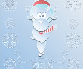 Sheep with 2015 snowflake paper background vector