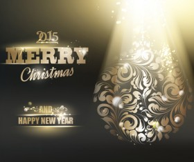 Shiny 2015 christmas and new year with floral background