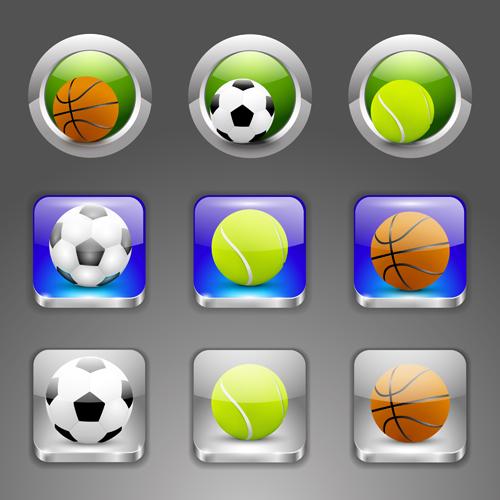 Shiny ball icons set vector 01