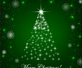Shiny christmas tree with green background vector 01