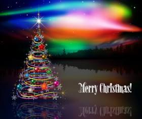 Shiny christmas tree with rainbow vector background
