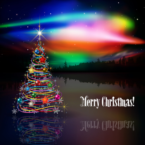 Shiny christmas tree with rainbow vector background - Vector ...