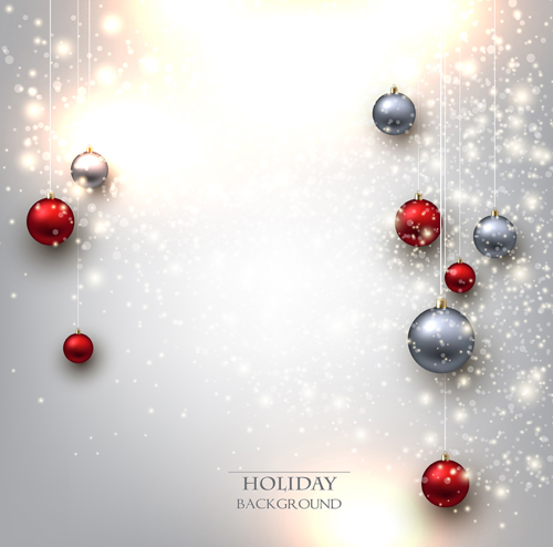 Shiny holiday baubles vector background 01