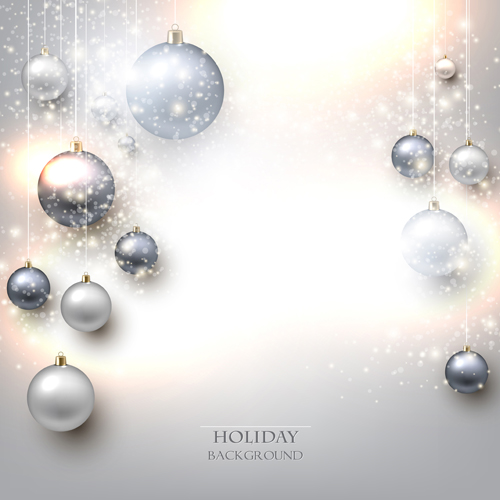 Shiny holiday baubles vector background 02
