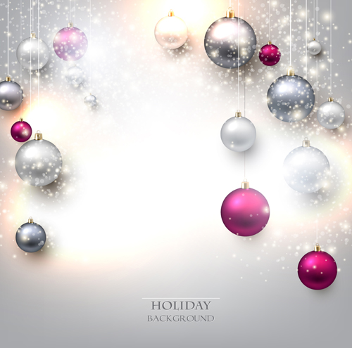 Shiny holiday baubles vector background 03