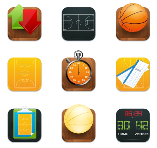 Shiny square sport icons vector 01