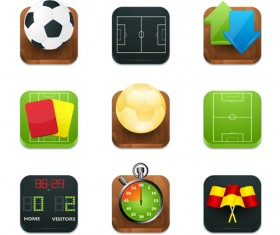 Shiny square sport icons vector 02