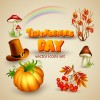Shiny thanksgiving day vector icons set 02