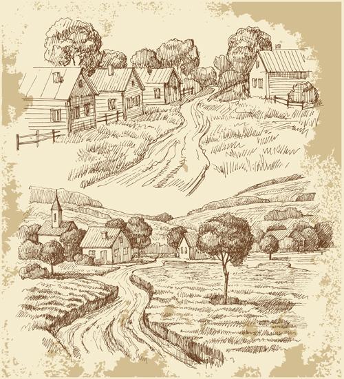Sketch village house vector material