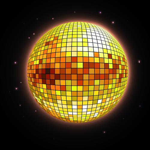 Sparkling disco neon light ball background vector 02