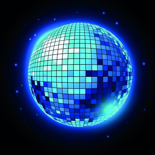 Sparkling disco neon light ball background vector 04