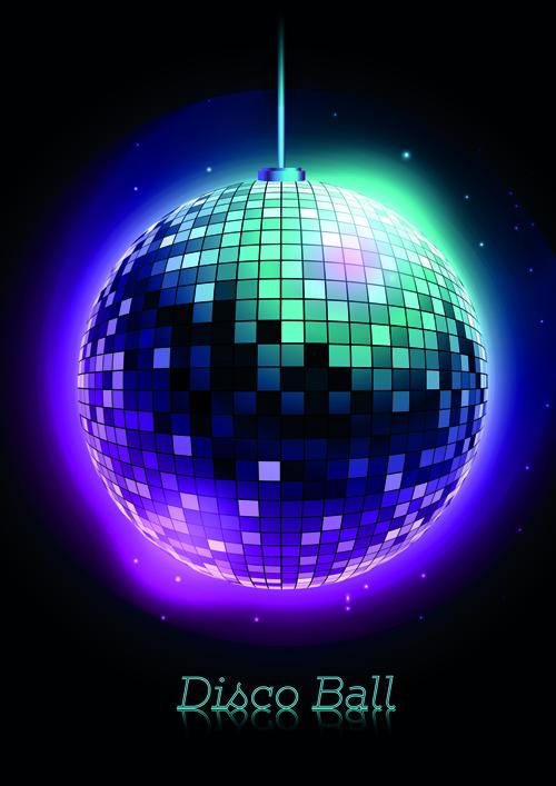 Sparkling disco neon light ball background vector 05