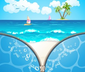 Summer beach with zipper vector background 01