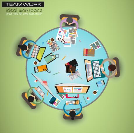 Team teamwork business template vector set 01