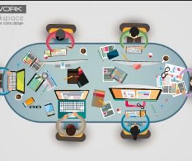 Team teamwork business template vector set 02