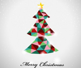 Triangle colored christmas tree vector background