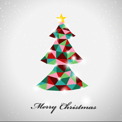 Triangle colored christmas tree vector background - Vector ...