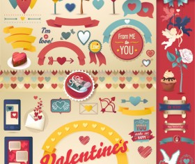 Valentine day ornament elemtns set vector