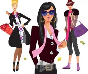 Vector fashion girls design elements set 02