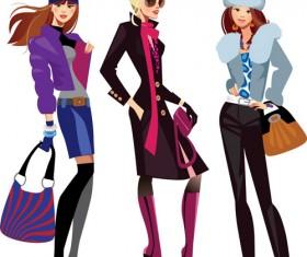 Vector fashion girls design elements set 04