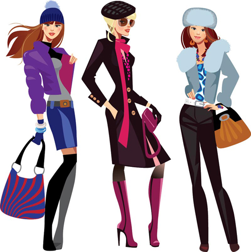 Vector fashion girls design elements set 04