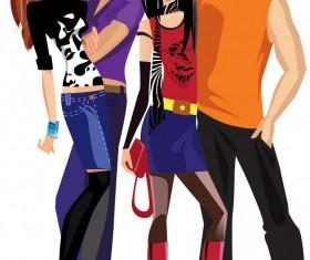 Vector fashion girls design elements set 05