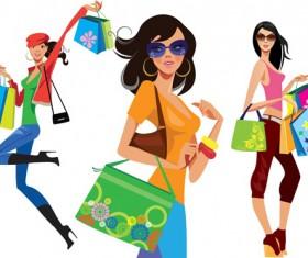 Vector fashion girls design elements set 08