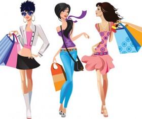 Vector fashion girls design elements set 09