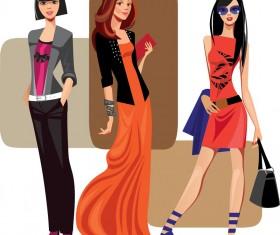 Vector fashion girls design elements set 10