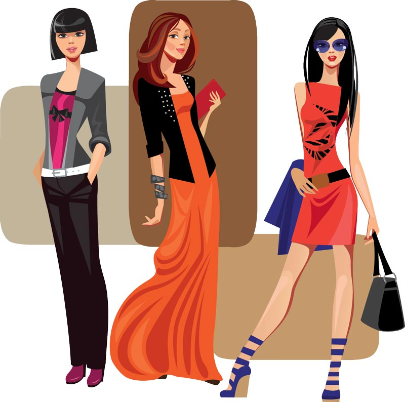 Vector fashion girls design elements set 10
