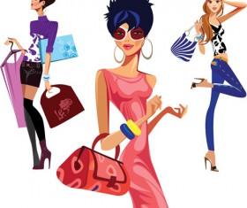 Vector fashion girls design elements set 11