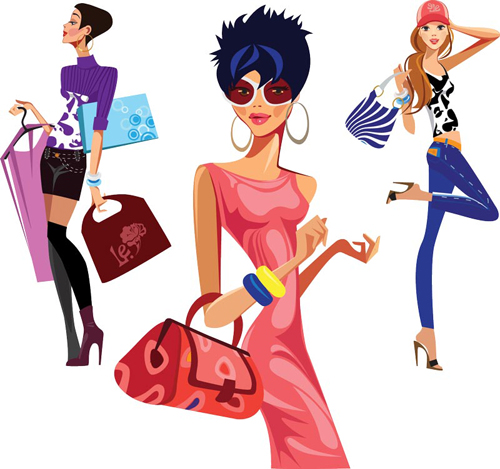 Vector fashion girls design elements set 11